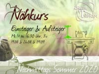 Nähkurs Einsteiger & Aufsteiger 3x Mi Nachmittags Aug 14 bis 16.30 Uhr