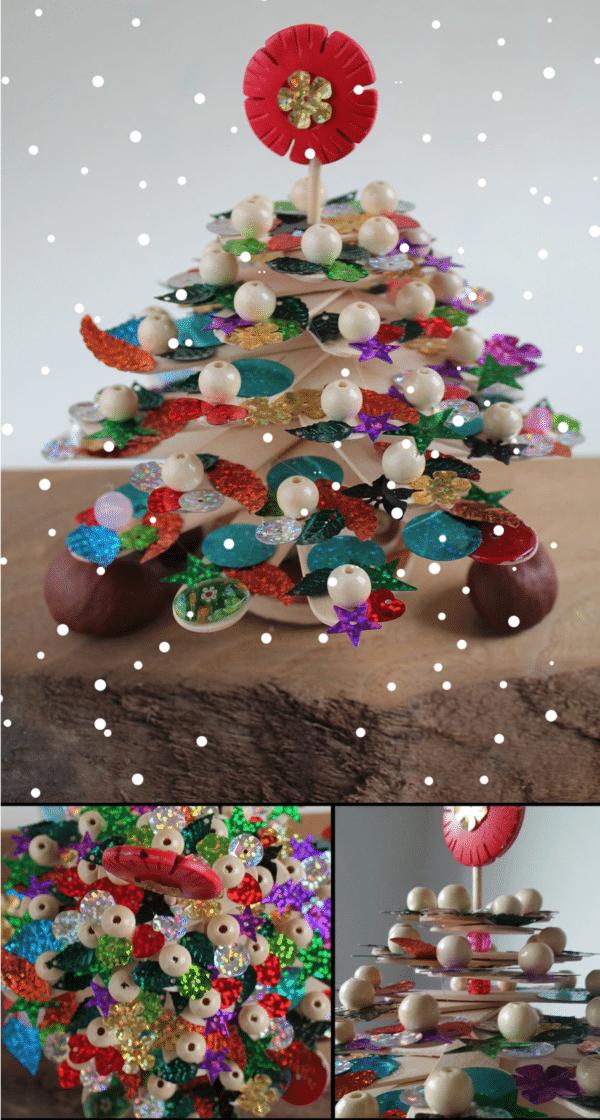 Kleiner Weihnachtsbaum mit Christbaumschmuck aus Eisstielen