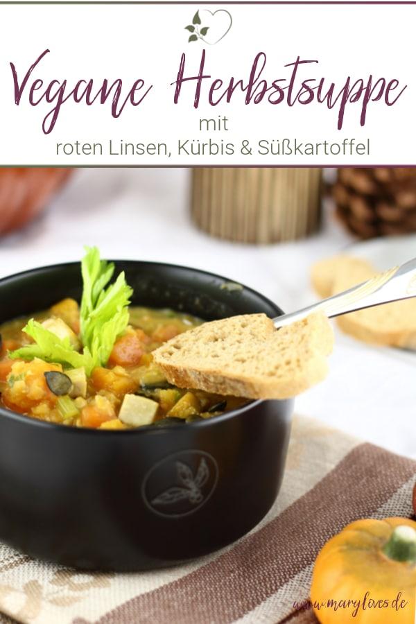 Vegane rote Linsensuppe mit Süßkartoffel & Kürbis