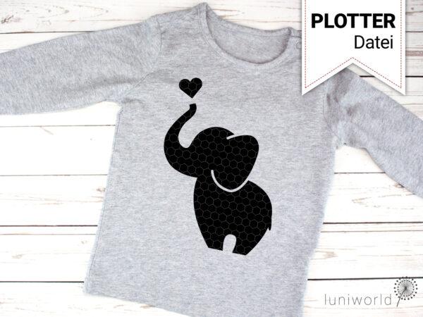 Süße Elefanten als Plotterdatei (einfarbig)