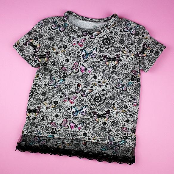 T-Shirt mit Spitzenborte aufpimpen