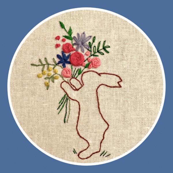 Stickbild Osterhase mit Blumenstrauß