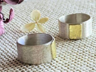 Silberring mit Grüngold