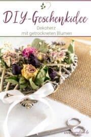 DIY-Dekoherz mit getrockneten Blumen