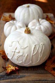 🍂 Happy Herbst mit weißen Kürbissen - Herbstdeko DIY: Kürbisse beschriften und weiß bemalen 🍂